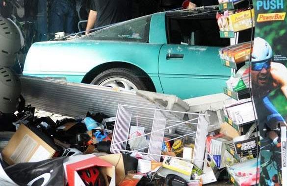 C4 Corvette Crashes into a Florida Bicycle Shop