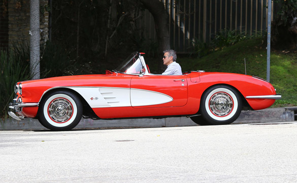 [PICS] George Clooney and His Little Red Corvette