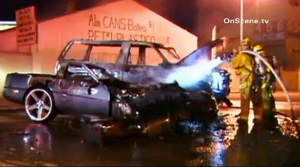 [ACCIDENT] Corvette and Tahoe Drivers Flee After Fiery Crash in Los Angeles