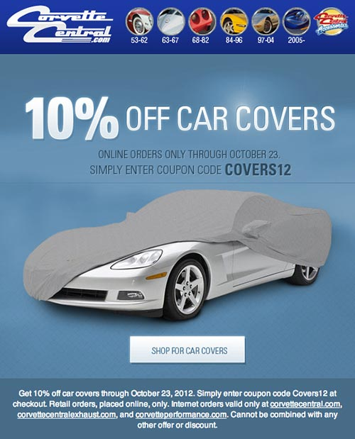 Get 10% off Car Covers at Corvette Central