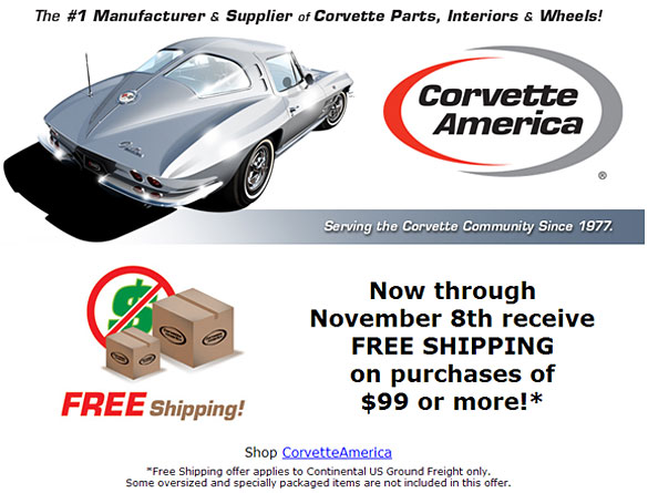 Free Shipping from Corvette America