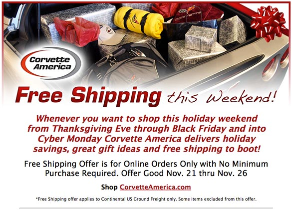 Corvette America is Offering Free Shipping With No Minimum Purchase