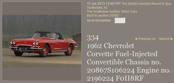 Lot #334 - 1962 Chevrolet Corvette