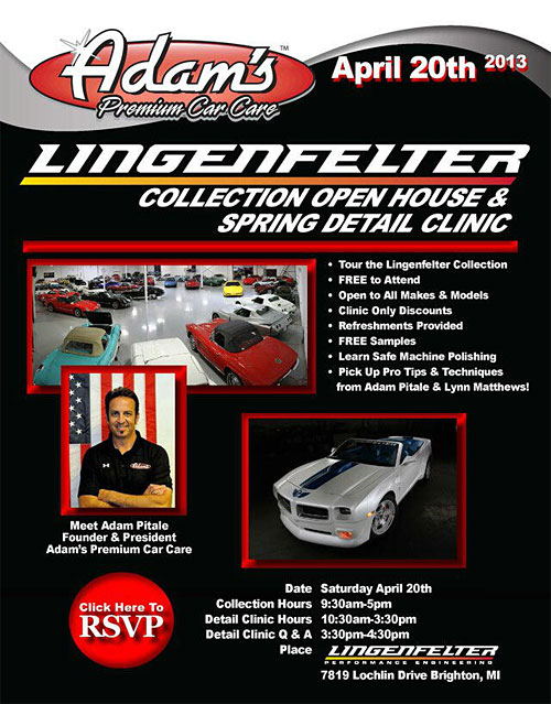 Lingenfelter Collection Hosting an Open House and Spring Detail Clinic with Adams Polishes