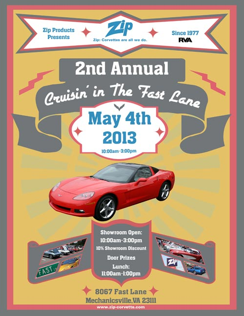 Join Zip Corvette this Saturday for the 2nd Annual Cruisin' in The Fast Lane