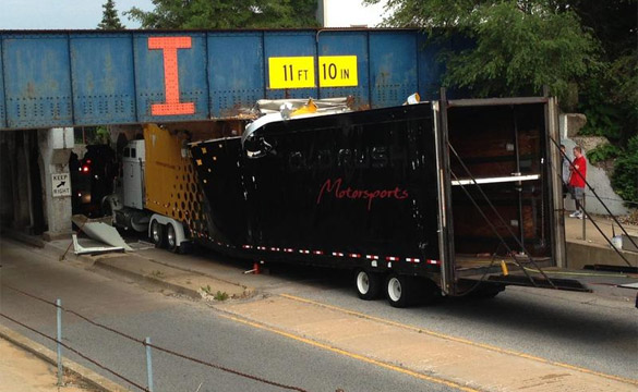 Truck Carrying Four Corvettes to Bloomingto