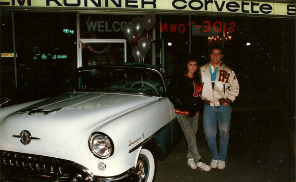 1986 outside Malcolm Konner Chevrolet helping out the Konner Family for a sock hop.