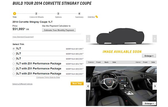 Official 2014 Corvette Stingray Configurator is Now Online