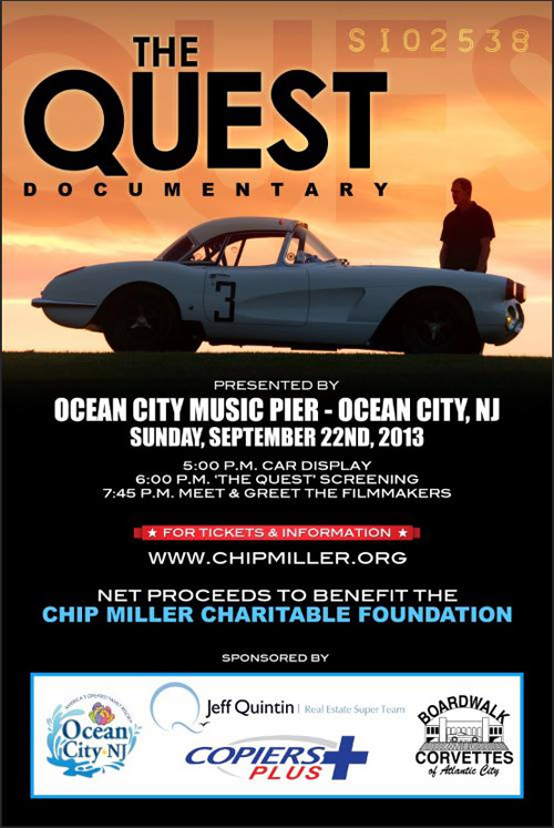 The Quest Documentary to be shown Sept 22nd at the Ocean City Boardwalk Corvette Show