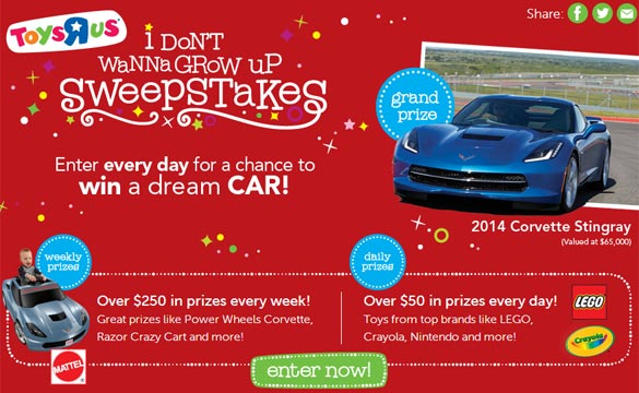 Win a 2014 Corvette Stingray or a Power Wheels Corvette Stingray