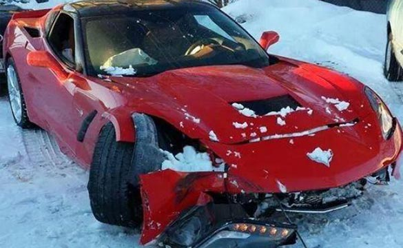 [PIC] Red Corvette Stingray Crashes in the Snow