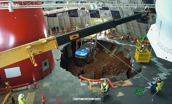 [VIDEO] The First of Eight Corvettes is Rescued from the Corvette Museum's Sinkhole