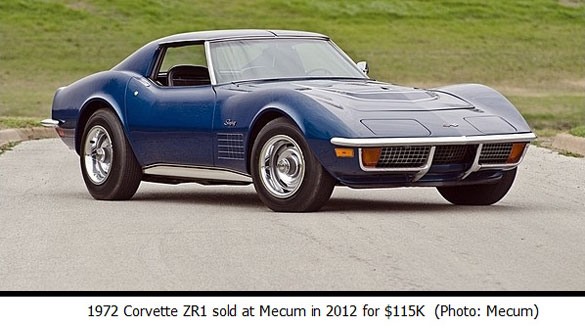 1972 Corvette ZR1 sold at Mecum in 2012 for $115K