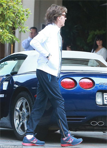 Sir Paul McCartney and his Blue C5 Corvette Seen in Beverly Hills
