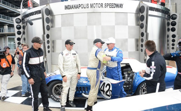 Al Unser Jr., Peter Klutt and Corvette win Legends Pro-Am at Indy. Photo by Dana Garrett/IMS