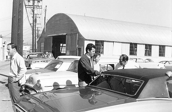 James Garner is greeted by Dick Guldstrand upon arrival at the Culver City shop.  Photo Credit: www.aiml88.com