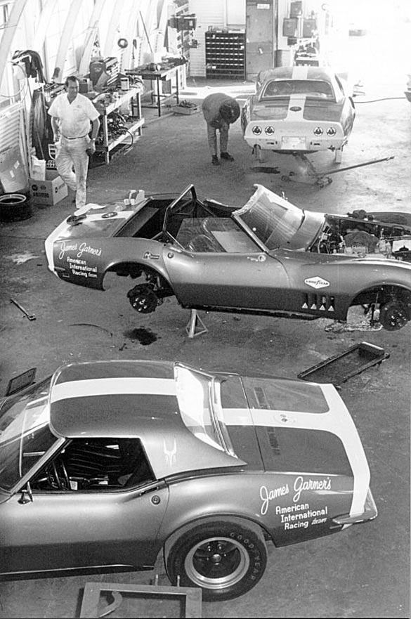 The Guldstrand R&D shop was a beehive of activity in preparation for the 1968 Daytona 24 hour race.  Photo Credit: www.aiml88.com