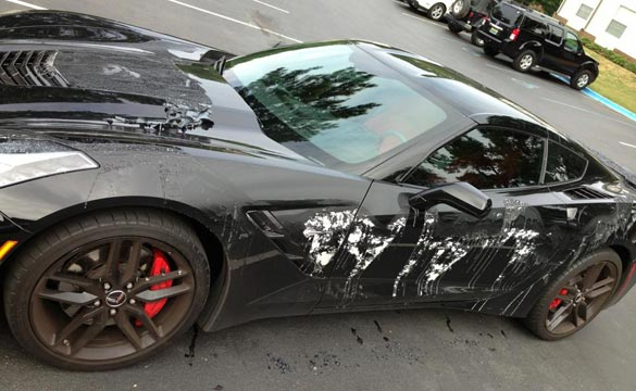 Corvette Stingray Vandalized with Paint