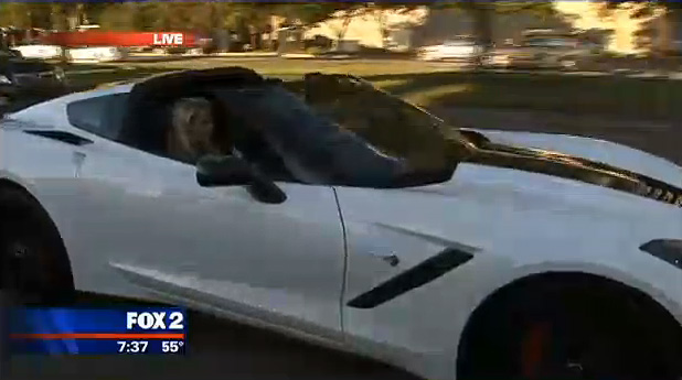 Indy Car Driver Helio Castroneves Cruises Detroit's Woodward Avenue in a 2014 Corvette Stingray