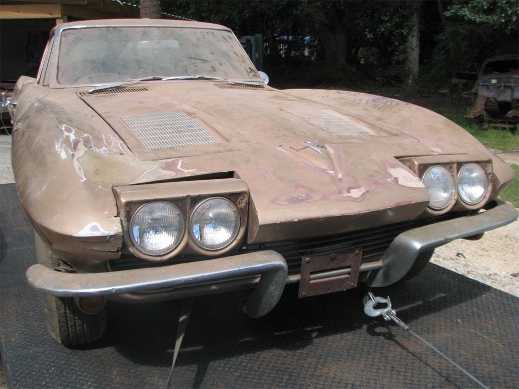 Old Corvette Headlights : Barn find corvette split window coupe stored for