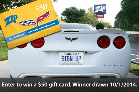 Win a $50 gift card from Zip Corvette