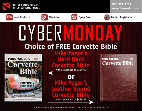 Mid America Motorworks Offering a Free Copy of the Corvette Bible on Cyber Monday