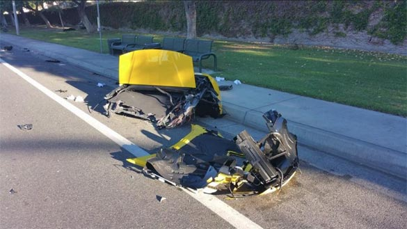 This Yellow Corvette Stingray was Cut in Half after a Huge Crash