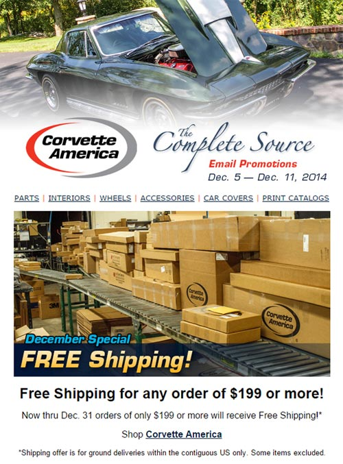 Save Money and Get Free Shipping at Corvette America