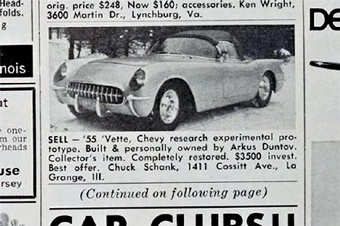 Ad for Zora's 1955 Corvette