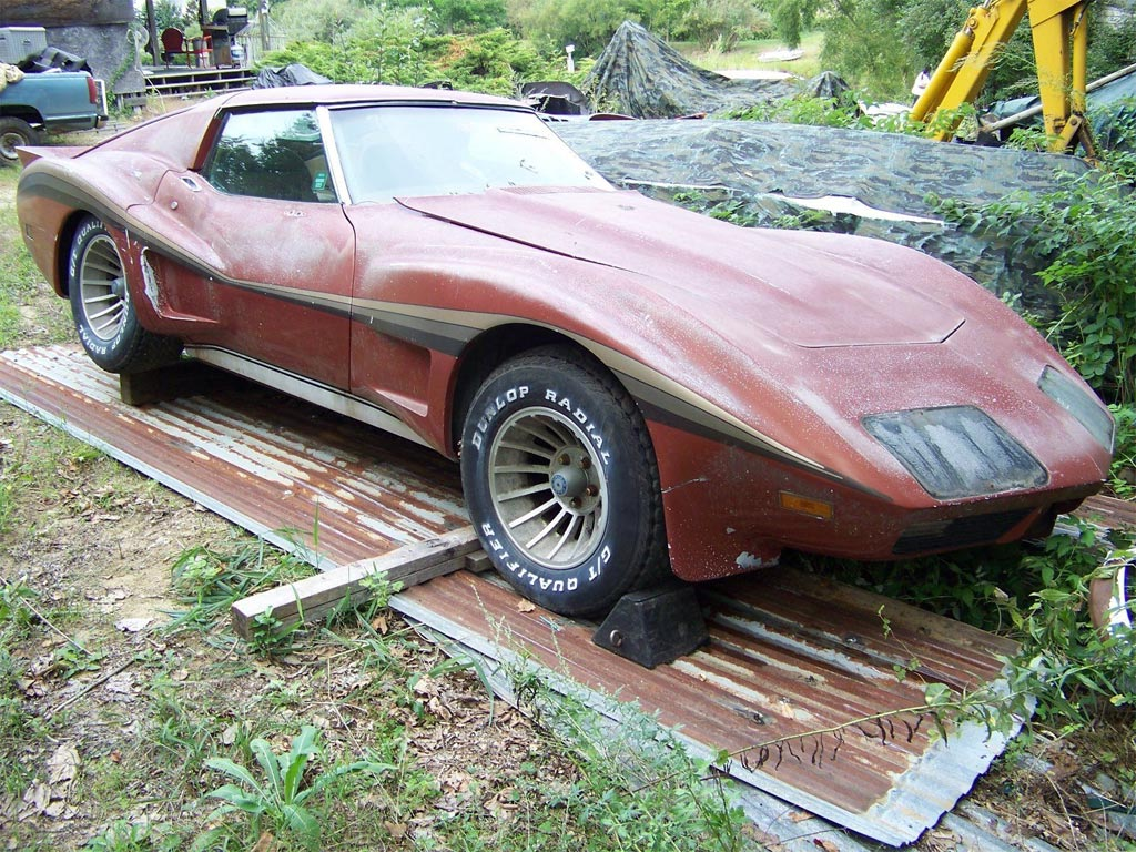 Corvettes On EBay Barn Find 1974 Corvette With Greenwood Widebody Kit