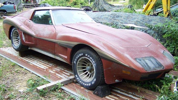 Corvettes on eBay: Barn Find 1974 Corvette with Greenwood Widebody Kit