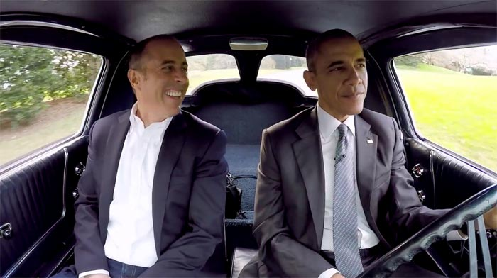 President Obama and Jerry Seinfeld Drive a 1963 Corvette at the White House