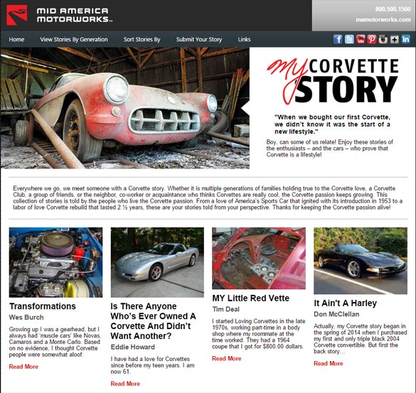 Share your Corvette Story with Mid America Motorworks' MYCorvetteStory.com