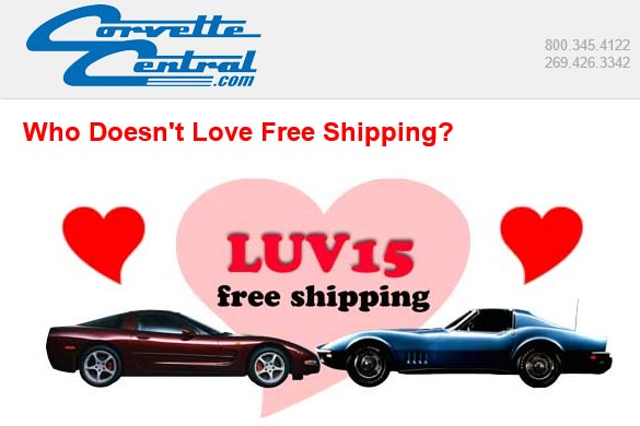 Free Shipping from Corvette Central through Thursday