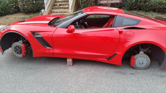[STOLEN] 2015 Corvette Z06 Has Wheels Stolen While Parked at an Apartment Complex