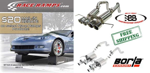 Zip Corvette Specials: $20 rebate on Race Ramps + Free Shipping on B&B and Borla Exhaust Systems