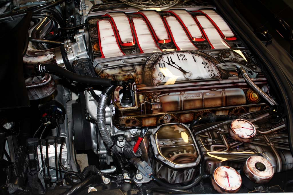 pics  this corvette stingray with a steampunk engine bay