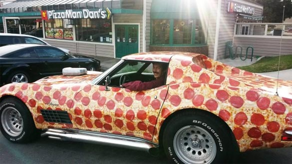 C3 Corvette Wrapped with Pepperoni is the Greatest Pizza Delivery Vehichle Ever