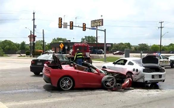 Man in Stolen Corvette Stingray Crashes into a Mustang in San Antonio