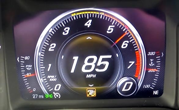 Corvette Stingray Top Speed >> Video Watch The Corvette Z06 S Fuel Gauge Drop During A 0 185 Mph