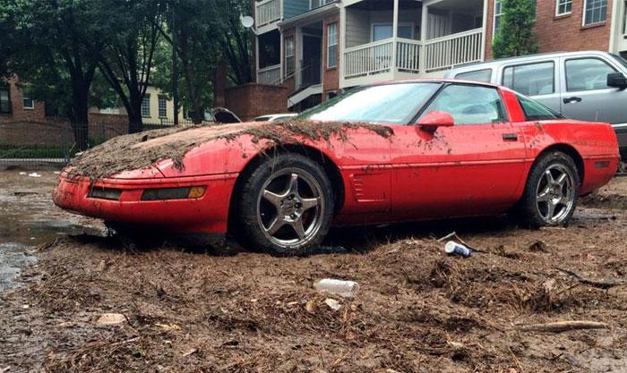 C4 Corvette Drowns When Streets in Atlanta Flooded on Sunday