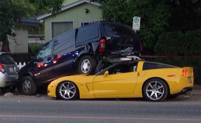 [ACCIDENT] C6 Corvette Gets Under a Minivan in British Columbia