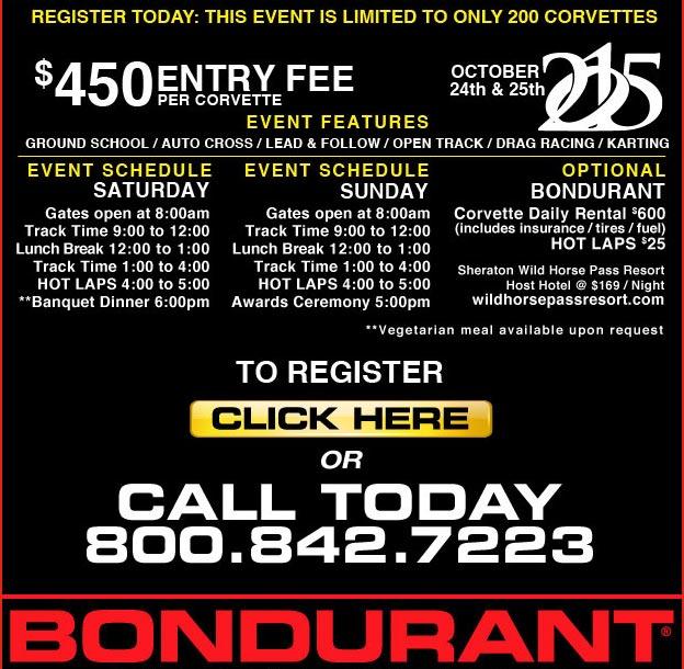 Register for the 4th Annual Corvettes at Bondurant