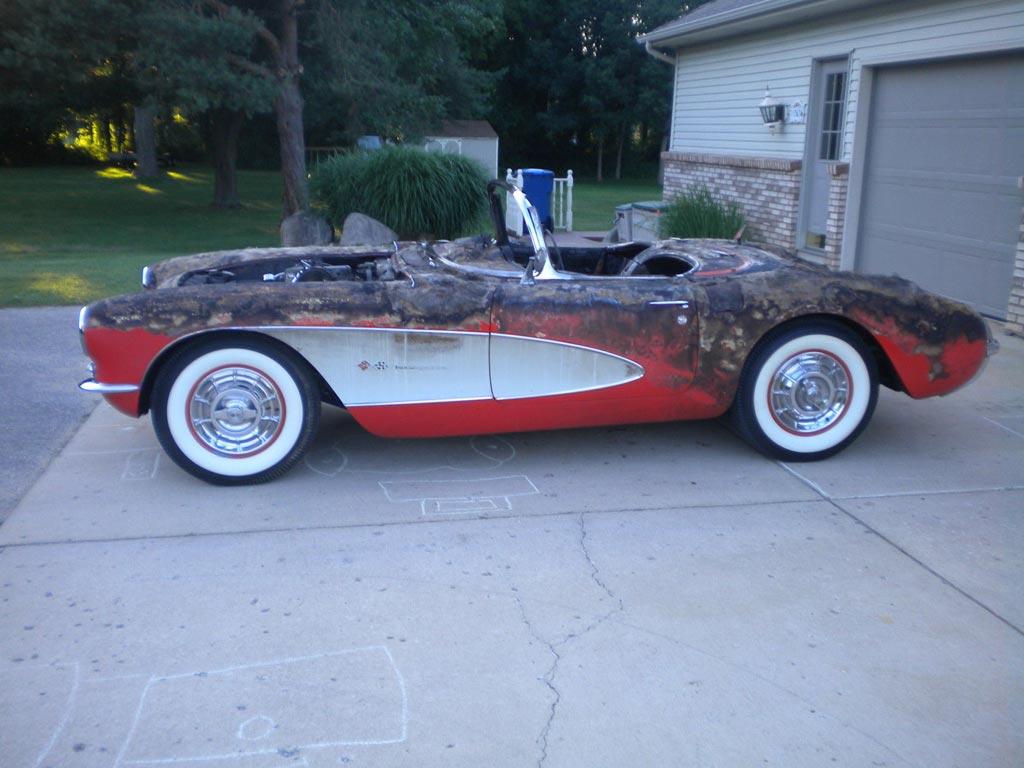 Corvettes on eBay: Burnt but Still Viable 1957 Corvette Fuelie ...