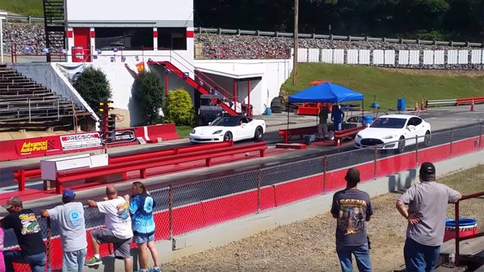 [VIDEO] C6 Corvette Reels in a Tesla Model S at the Track