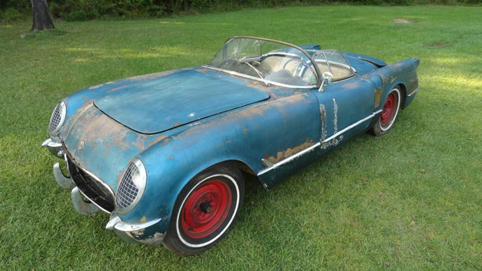 Corvettes on eBay: 1954 Pennant Blue Corvette Barn Find