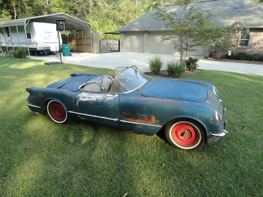 Corvettes On EBay 1954 Pennant Blue Corvette Barn Find