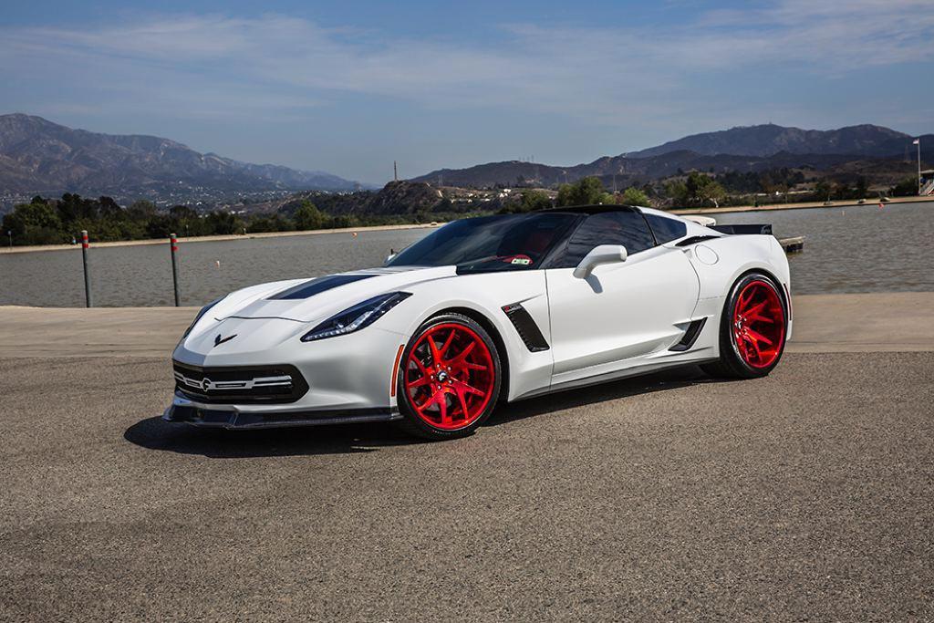 pics forgiatos 800 hp widebody corvette z06 with custom red wheels 2015 corvette c7 z06 arctic white 1 - Corvette 2015 White