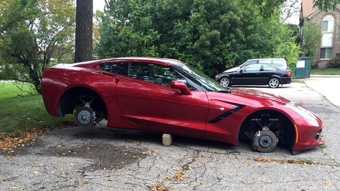 [PIC] Corvette Stingray Has its Wheels Stolen in Detroit