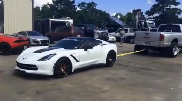 [VIDEO] Watch a Corvette Stingray Get Dragged Away by a Pickup over Bad Parking